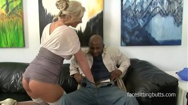 Black Man Gives To Blonde In Suspenders