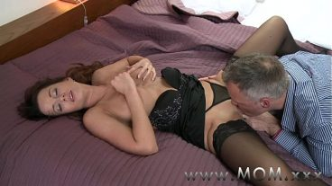 Licks Her Smooth Pussy Of A Gartered Woman